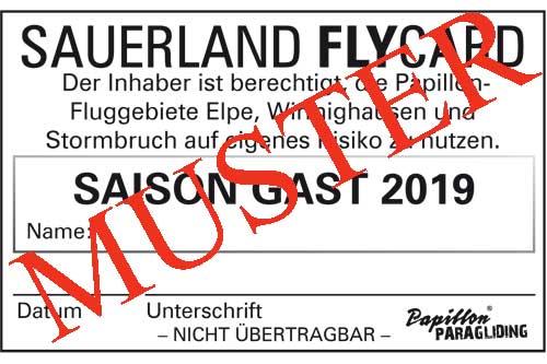 Sauerland FlyCard SAISON 2019 GAST